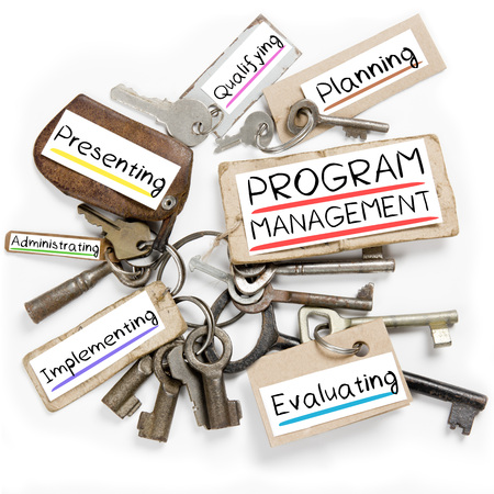 programs: Photo of key bunch and paper tags with PROGRAM MANAGEMENT conceptual words Stock Photo