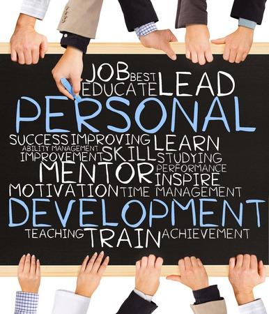 wort: Foto von Business-Hände Tafel halten und die persönliche Entwicklung Konzept zu schreiben
