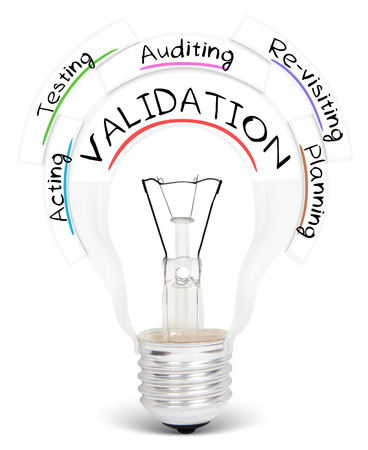 validation: Photo of light bulb with VALIDATION conceptual words isolated on white Stock Photo