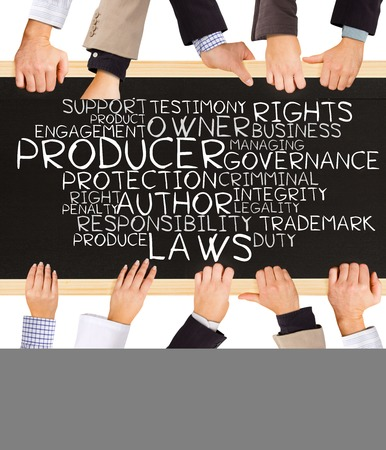 ownership and control: Photo of business hands holding blackboard and writing COPYRIGHT concept Stock Photo