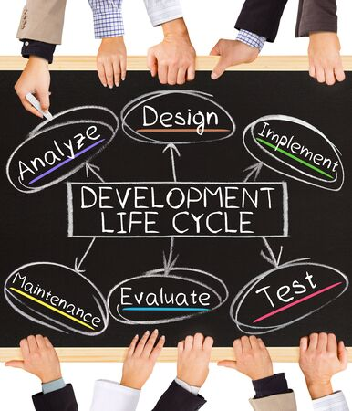 business life: Photo of business hands holding blackboard and writing DEVELOPMENT LIFE CYCLE concept