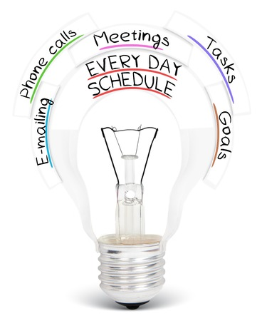 important phone call: Photo of light bulb with EVERY DAY SCHEDULE conceptual words isolated on white