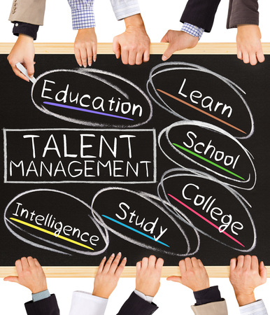 talent management: Photo of business hands holding blackboard and writing TALENT MANAGEMENT concept