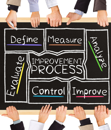 schema: Photo of business hands holding blackboard and writing IMPROVEMENT PROCESS concept Stock Photo