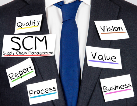 scm: Photo of business suit and tie with SCM concept paper cards