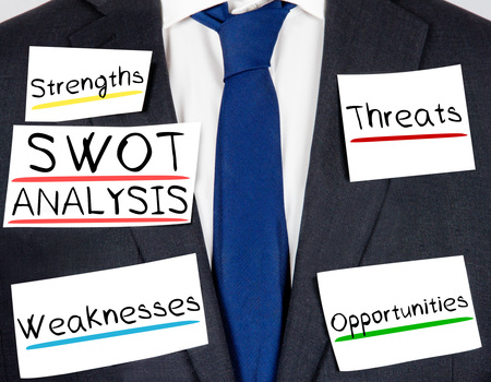 swot: Photo of business suit and tie with SWOT ANALYSIS concept paper cards