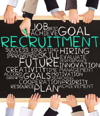 recruit help: Photo of business hands holding blackboard and writing RECRUITMENT concept