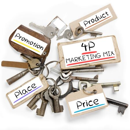 4p: Photo of key bunch and paper tags with 4P MARKETING conceptual words