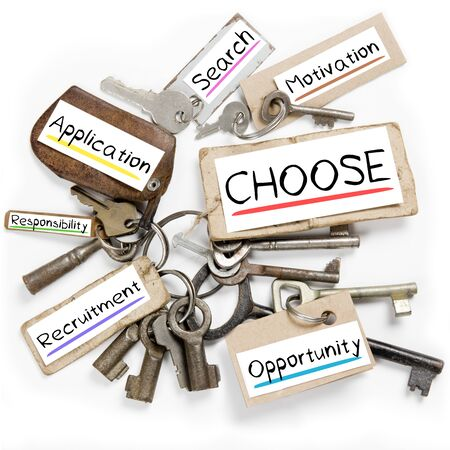 recruit help: Photo of key bunch and paper tags with CHOOSE conceptual words