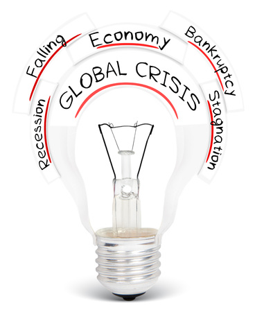 global crisis: Photo of light bulb with GLOBAL CRISIS conceptual words isolated on white
