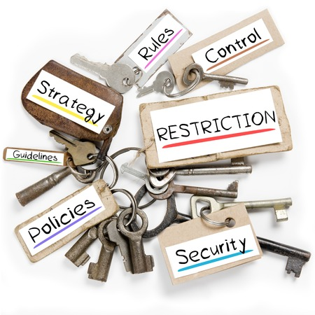 restriction: Photo of key bunch and paper tags with RESTRICTION conceptual words