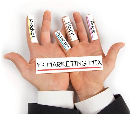 4p: Photo of hands holding paper cards with 4P MARKETING MIX concept words