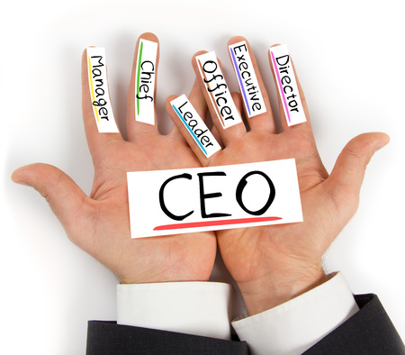 business roles: Photo of hands holding paper cards with CEO concept words
