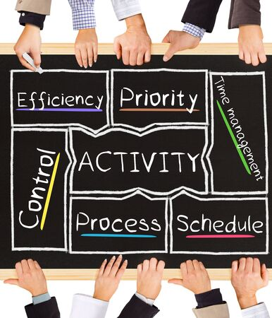 writing activity: Photo of business hands holding blackboard and writing ACTIVITY concept