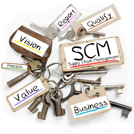 scm: Photo of key bunch and paper tags with SCM conceptual words