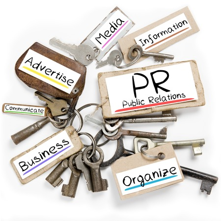 pr: Photo of key bunch and paper tags with PR conceptual words