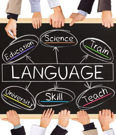 science education: Photo of business hands holding blackboard and writing LANGUAGE concept