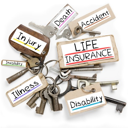 invalidity: Photo of key bunch and paper tags with LIFE INSURANCE conceptual words Stock Photo