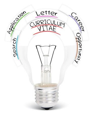 business letter: Photo of light bulb with CURRICULUM VITAE conceptual words isolated on white Stock Photo