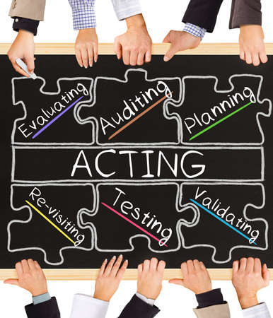 schema: Photo of business hands holding blackboard and writing ACTING concept