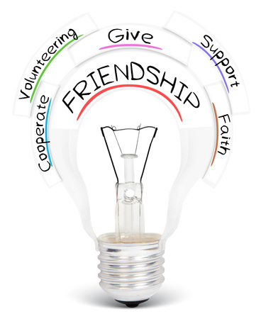 Photo of light bulb with FRIENDSHIP conceptual words isolated on white Stock Photo