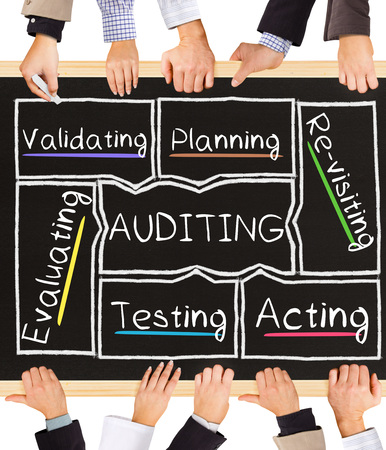 validating: Photo of business hands holding blackboard and writing AUDITING concept