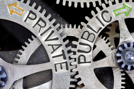 private domain: Macro photo of tooth wheel mechanism with arrows and PRIVATE, PUBLIC letters Stock Photo