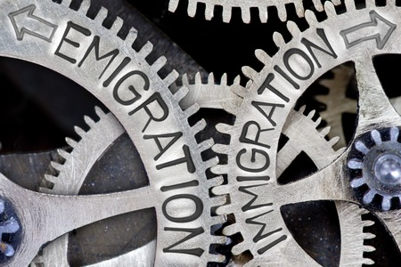 emigration: Macro photo of tooth wheel mechanism with arrows and EMIGRATION, IMMIGRATION concept words