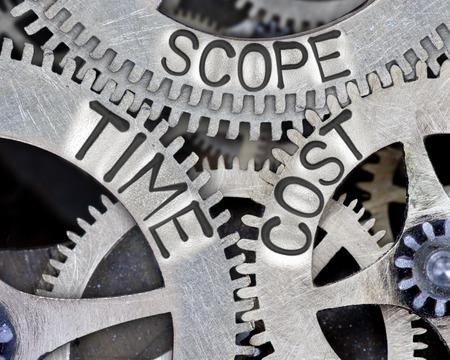 Macro foto van tandwiel-mechanisme met ruimte, tijd, kosten concept van woorden