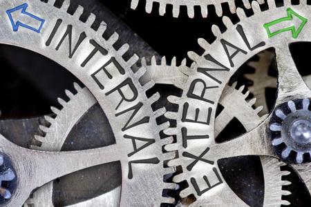 Macro foto van tandwiel-mechanisme met pijlen en intern, extern concept van woorden Stockfoto