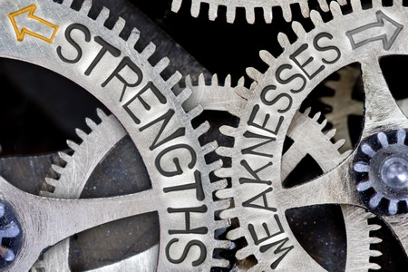 weaknesses: Macro photo of tooth wheel mechanism with imprinted arrows and STRENGTHS, WEAKNESSES concept words
