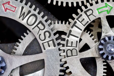 imprinted: Macro photo of tooth wheel mechanism with imprinted arrows and WORSE, BETTER concept words Stock Photo
