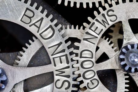 imprinted: Macro photo of tooth wheel mechanism with imprinted BAD NEWS, GOOD NEWS concept words Stock Photo