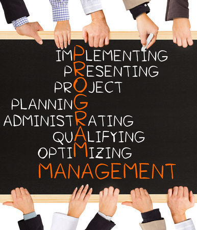 Photo of business hands holding blackboard and writing PROGRAM MANAGEMENT concept