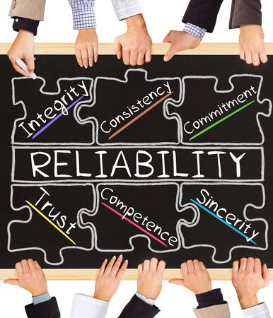 reliability: Photo of business hands holding blackboard and writing RELIABILITY concept