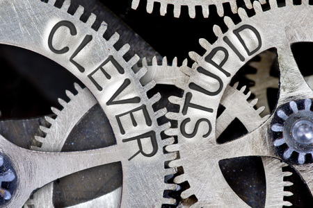capable of learning: Macro photo of tooth wheel mechanism with imprinted CLEVER, STUPID concept words