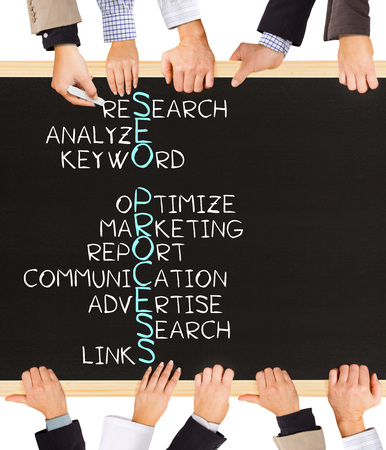 Photo of business hands holding blackboard and writing SEO PROCESS concept