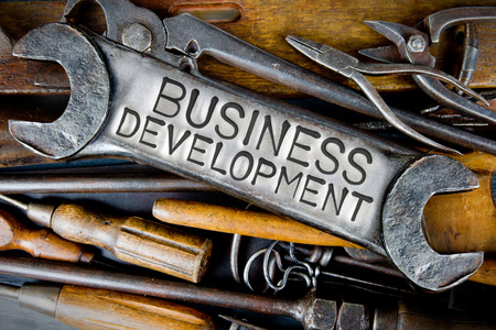 business letters: Photo of various tools and instruments with BUSINESS DEVELOPMENT letters imprinted on a clear wrench surface Stock Photo