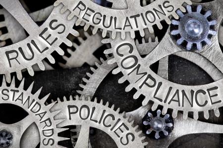 Macro photo de roues dentées avec des mots de conformité, de réglementation, de normes, de politiques et de règles imprimées sur la surface métallique