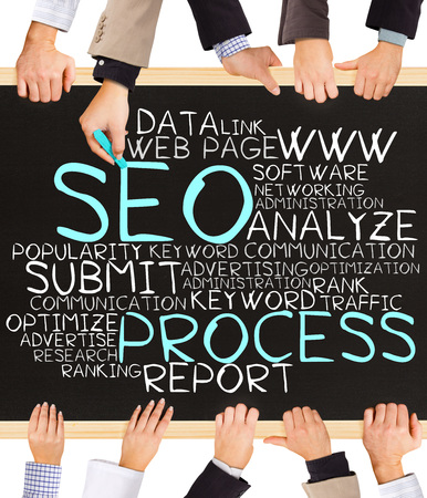 keywords link: Photo of business hands holding blackboard and writing SEO PROCESS concept