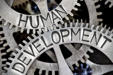 relaciones laborales: Macro photo of tooth wheel mechanism with HUMAN DEVELOPMENT concept letters