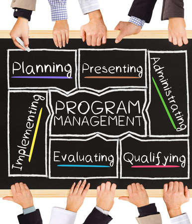 schema: Photo of business hands holding blackboard and writing PROGRAM MANAGEMENT concept