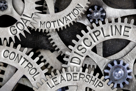 Macro photo of tooth wheel mechanism with DISCIPLINE, LEADERSHIP, SKILL, CONTROL and MOTIVATION concept letters Stock Photo