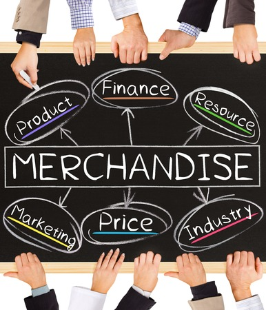 Photo of business hands holding blackboard and writing MERCHANDISE concept