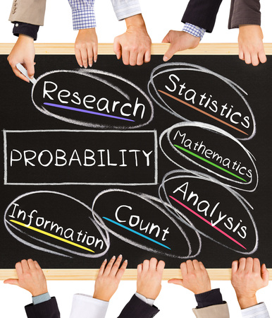 Photo of business hands holding blackboard and writing PROBABILITY concept