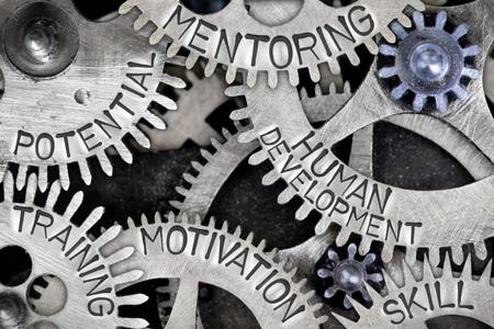 relaciones laborales: Macro foto del mecanismo de la rueda del diente con el desarrollo humano, MOTIVACIÓN, MENTORÍA, HABILIDAD, POTENCIAL y formación palabras de concepto Foto de archivo