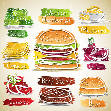 Vector collection of Hamburger and Ingredients icons
