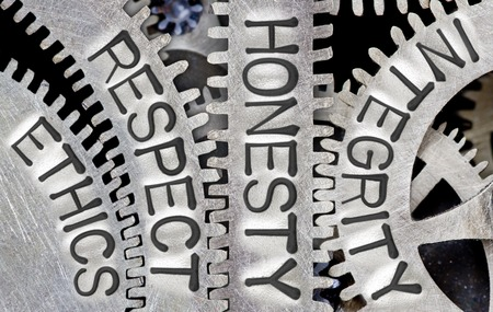 Macro photo of tooth wheel mechanism with ETHICS, RESPECT, HONESTY and INTEGRITY words imprinted on metal surface