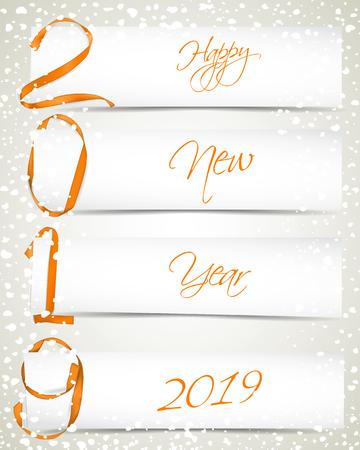 Vector illustration of New Year 2019 made of golden ribbons with paper cards and snowfall Vektoros illusztráció