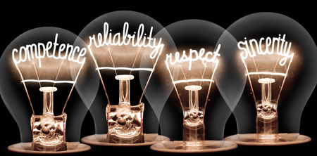 Photo of light bulbs with shining fibres in COMPETENCE, RELIABILITY, RESPECT, SINCERITY shape isolated on black background Archivio Fotografico